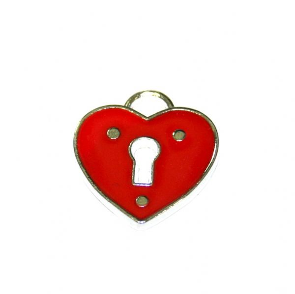 1 x 19*18mm Rhodium red heart with lock key hole enamel charm - SD03 - CHE1037